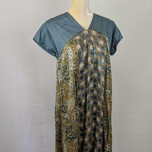 Vtg 60's Draped Flowing Dress w Patterned Skirt